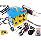 Buyyart 900 New 3 in 1 Quick Smd Rework Station and 2 Pieces Micro Soldering Irons with DC Out Put, Sponge Pad, Max Gold Paste and Stand