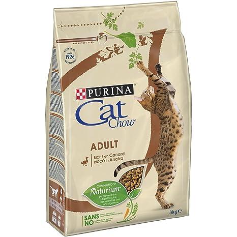 Cat Chow pienso con naturiumtm Riche de Pato para Gato Adulto 3 kg ...