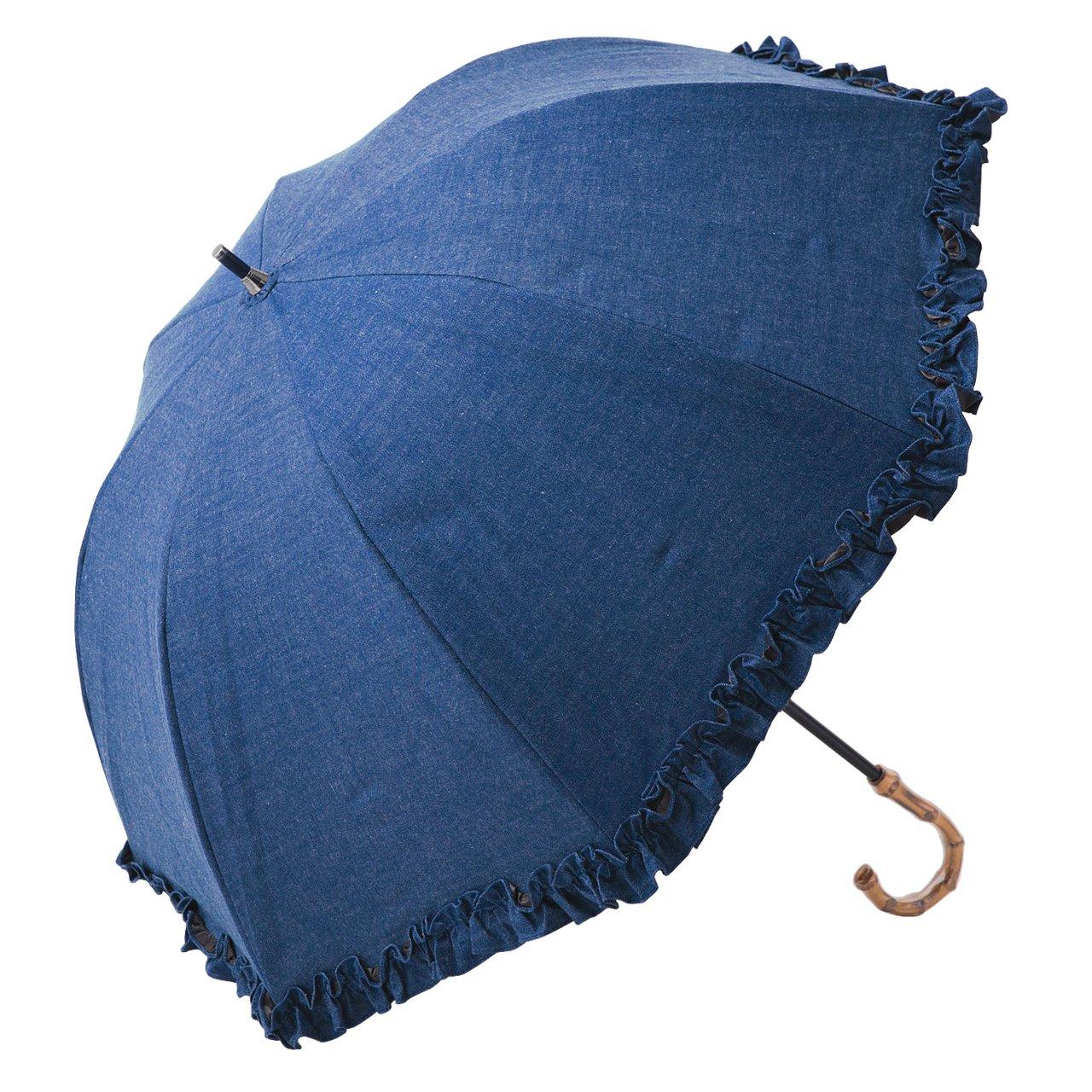 【Rose Blanc】100%完全遮光 日傘 シングルフリル ショートサイズ デニム 50cm (デニム) B06XTLTQ3Sデニム