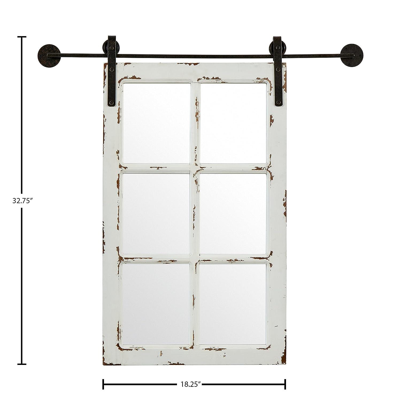 Stone Beam Vintage-Look Rectangular Frame White Window Wood Mirror, 32.75 Inch Height, White