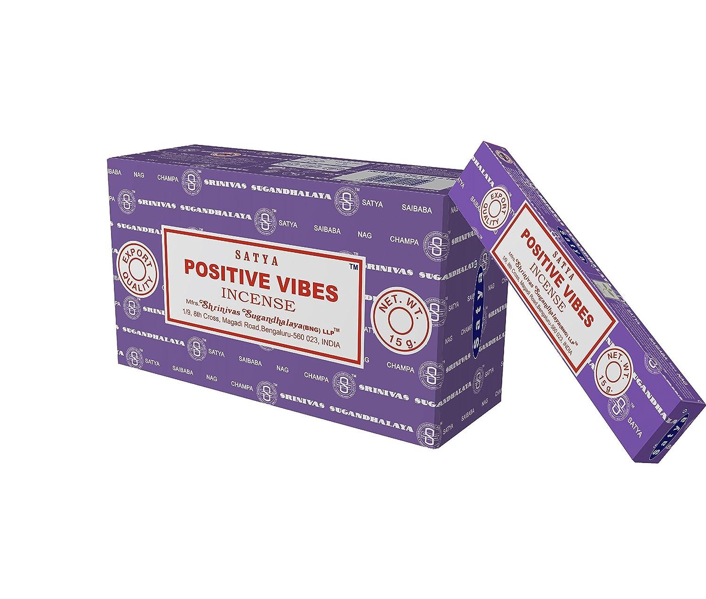 Satya Nag Champa Positive Vibes Incense Sticks、12カウント B01IW37X8I