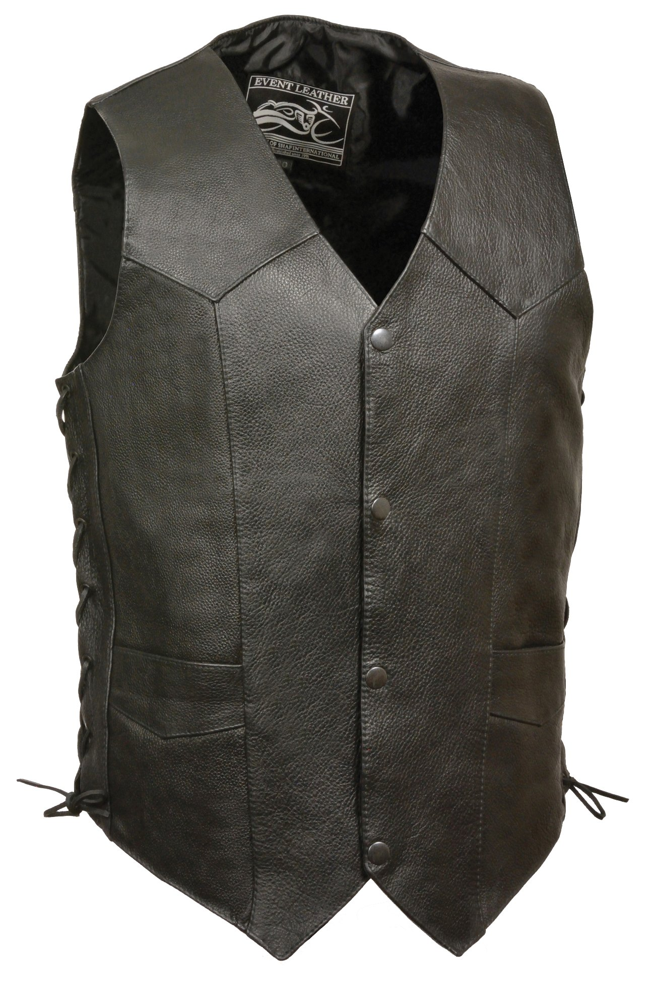Event Biker Leather Men's Promo Side Lace Leather Vest (Black, X-Large) by Event Biker Leather