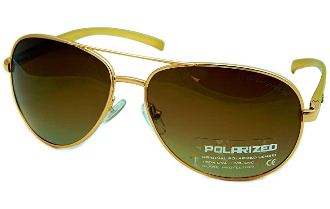 Messori Unisex Polarized Piloten-Style Braun Sonnenbrille, Prius PRM-002A-C5 Gestell Metall Alloy Gold