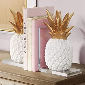 """Dahlia Studios Tropical Pineapple 10"""" High White and Gold Bookends"""