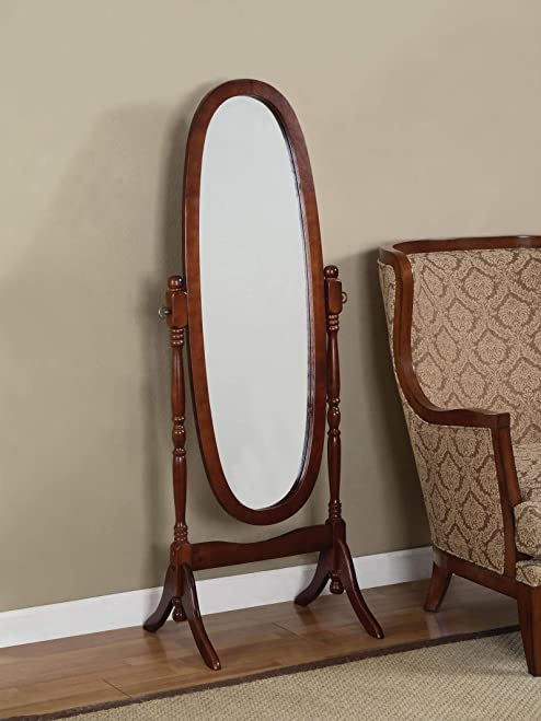 Wooden Cheval Floor Mirror, Cherry Finish by eHomeProducts
