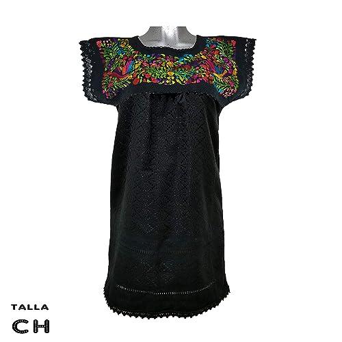 Vestido Telar Negro Colores Bordado A Mano Oaxaqueño 100