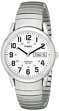 timex mens watch t20461 white dial and expander timex timex mens watch t20461 white dial and expander