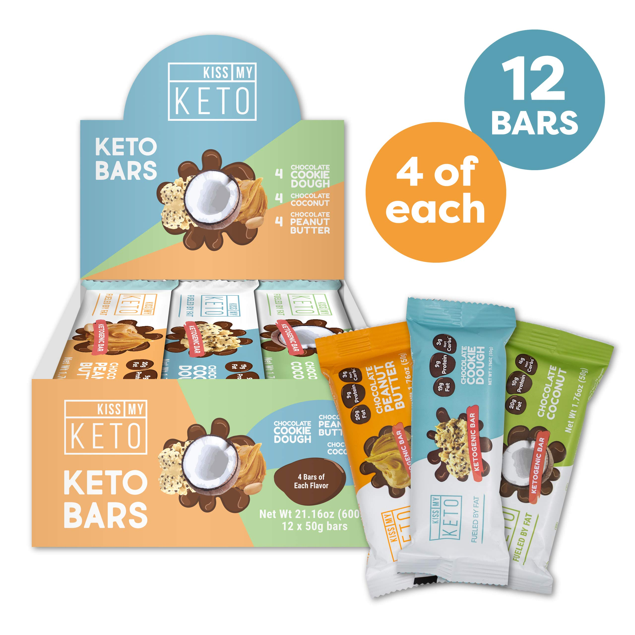 Kiss My Keto Snacks Keto Bars - Keto Chocolate Variety Pack (12) Nutritional Keto Food Bars, Paleo, Low Carb/Glycemic Keto Friendly Foods, Natural On-The-Go Snacks, Quality Fat Bars 3g Net Carbs by Kiss My Keto