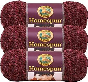 (3 Pack) Lion Brand Yarn 790-436A Homespun Yarn, Claret