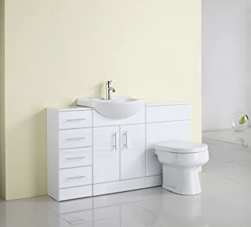 1400mm White Gloss Fully Fitted Bathroom Furniture Combination Set Part 73