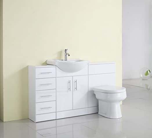 1400mm White Gloss Fully Fitted Bathroom Furniture Combination Set. 1400mm White Gloss Fully Fitted Bathroom Furniture Combination Set