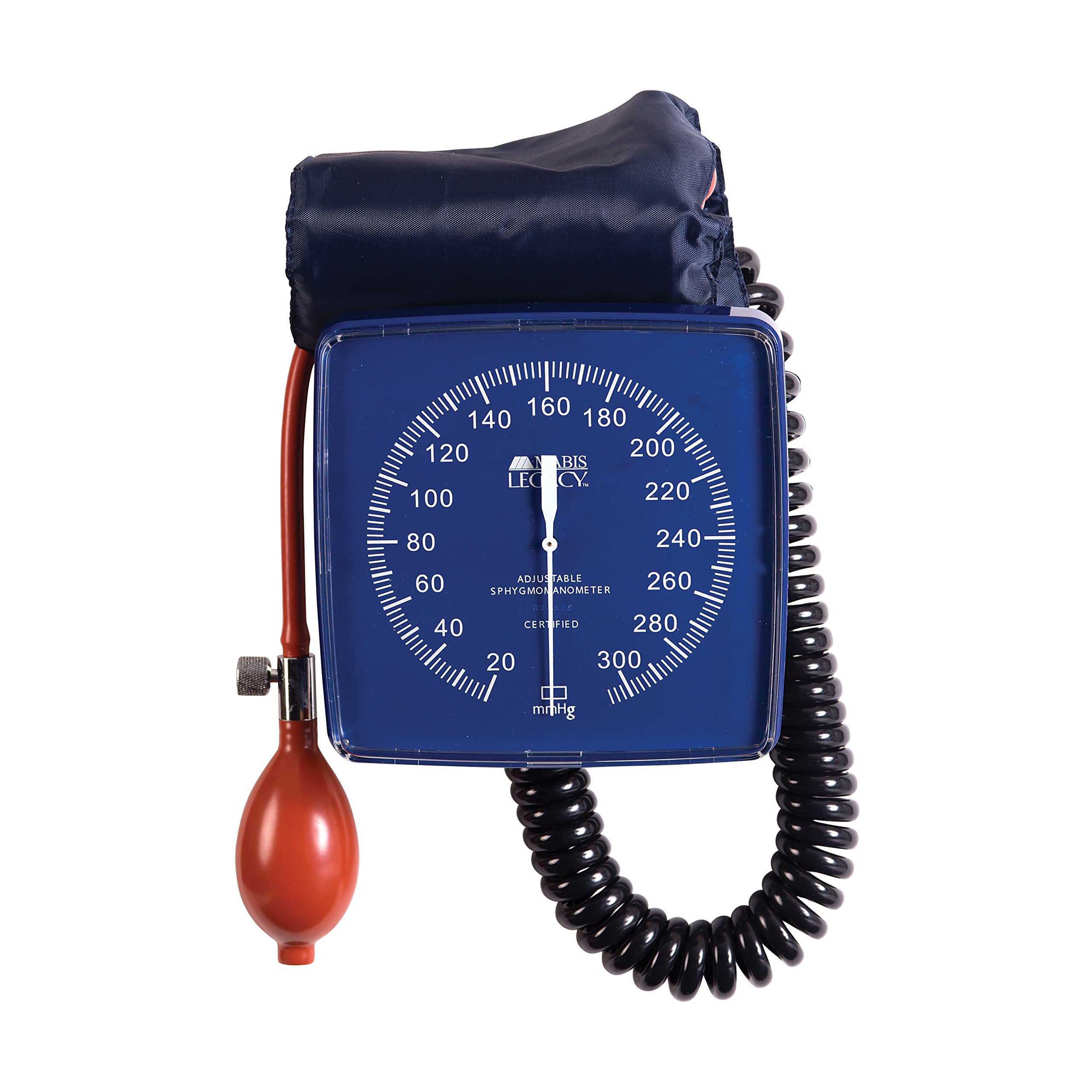 MABIS Legacy Professional Clock Aneroid Sphygmomanometer Blood Pressure Gauge with Adult Cuff, Wall Mounted, Blue