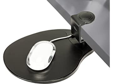 Clamp on Mouse Platform/Clip on Mouse Pad Rotating 360 Degree, Ergonomic Mouse Tray