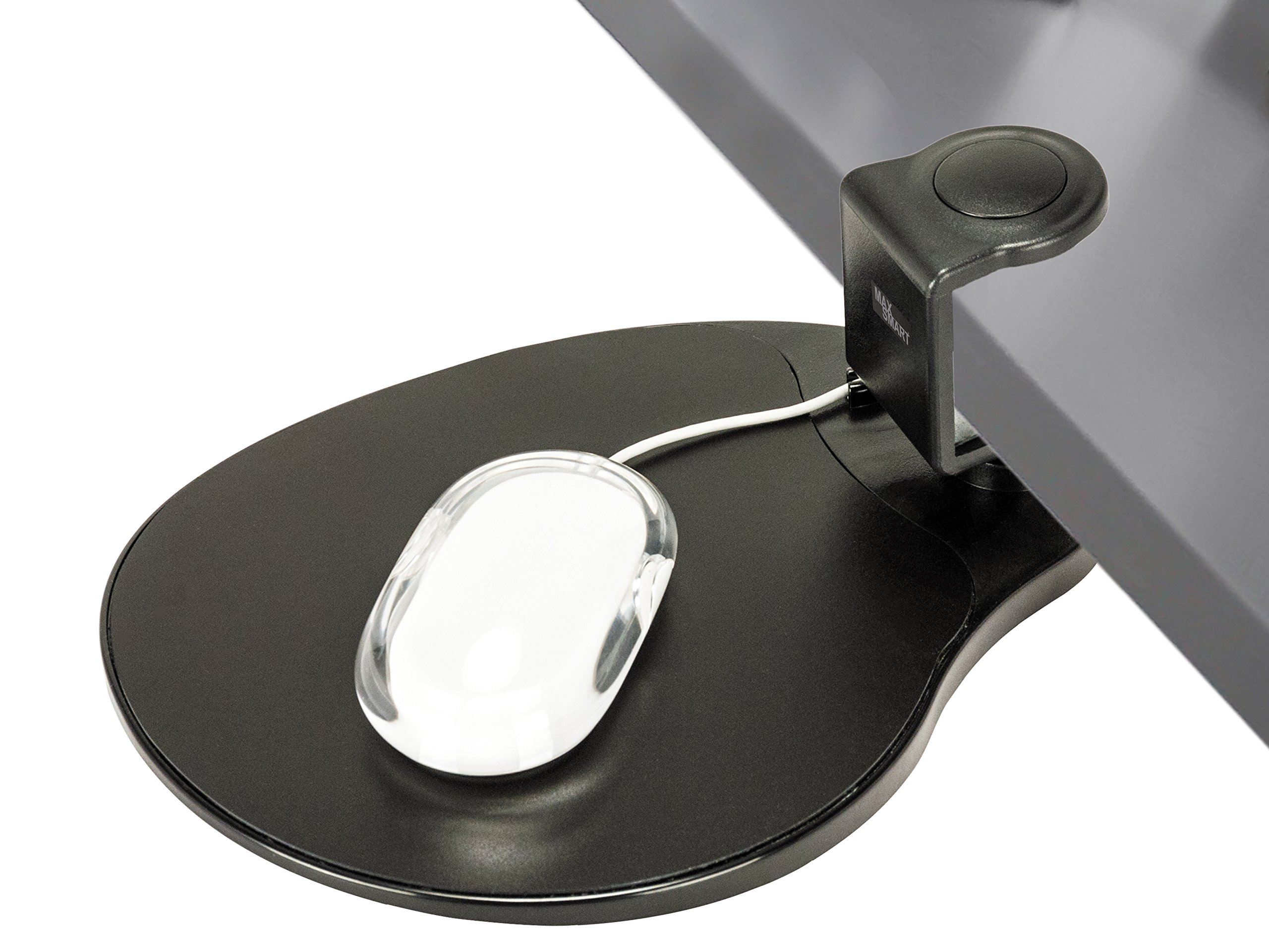 Clamp on Mouse Platform/Clip on Mouse Pad Rotating 360 Degree, Ergonomic Mouse Tray Attachment, Office Mouse Pad, Slide Out Mouse Tray