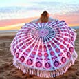 KING DO WAY Roundie Indian Mandala Tapestry Soft Breathable Tassels Beach Towel Used as Tablecloth Wall Hanging Decoration Hippie Beach Blanket Yoga Mat-Sunscreen Shawl Wrap Skirt 59''