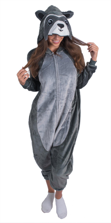 Adult Onesie Raccoon Animal Pajamas Comfortable Costume with Zipper and Pockets (Medium)