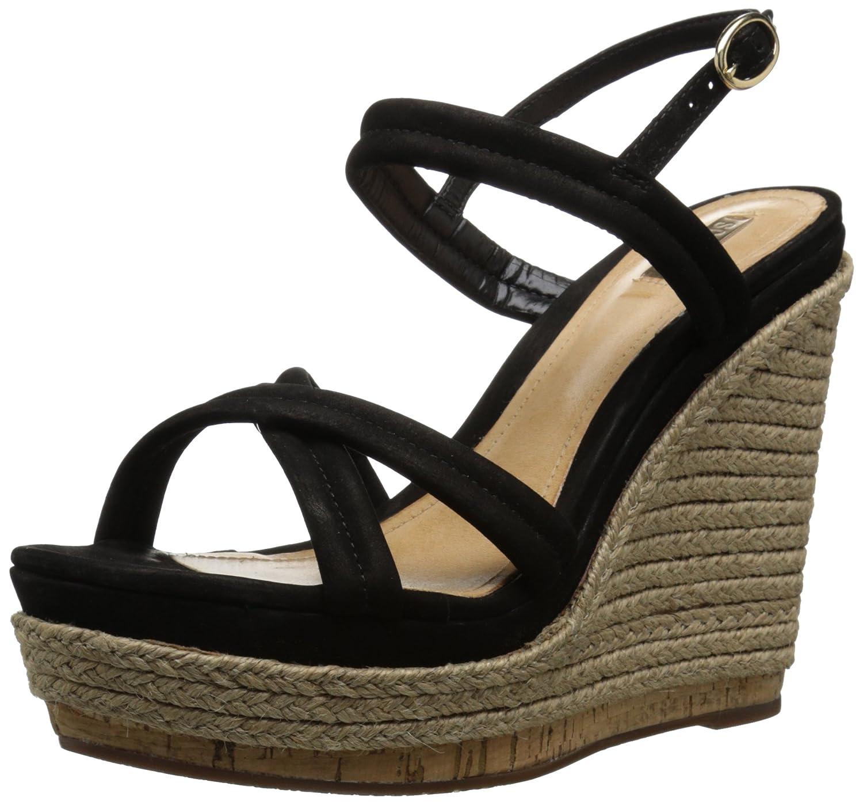 SCHUTZ Women's Evy Wedge Sandal B00SIT7GP2 8 B(M) US|Black Nubuck