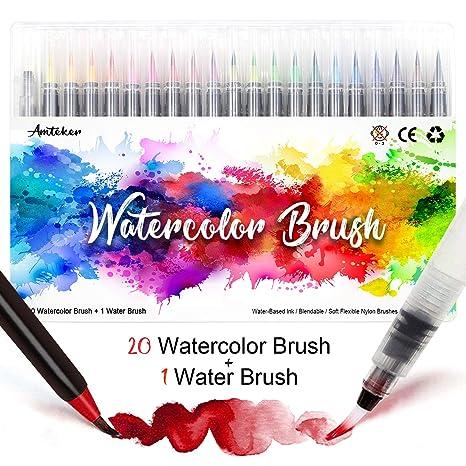 Amteker 20 Stylo Aquarelle 1 Aqua Brush Feutre Coloriage Feutre