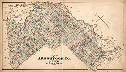 Amazon Com Map Poster Aroostook County Maine By Roe Colby