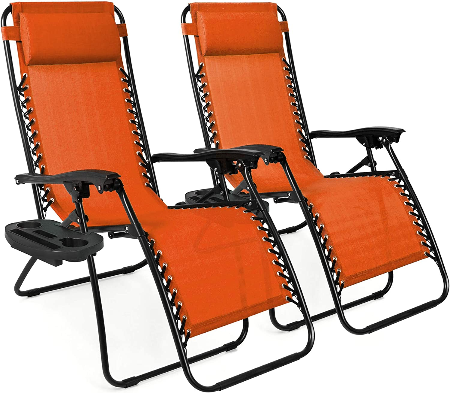 Best Choice Products Set of 2 Adjustable Steel Mesh Zero Gravity Lounge Chair Recliners w/Pillows and Cup Holder Trays - Burnt Orange