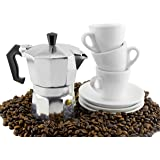 Moka Pot Set w/Three Espresso Cups & Saucers (3-Serving Stovetop Espresso Maker)