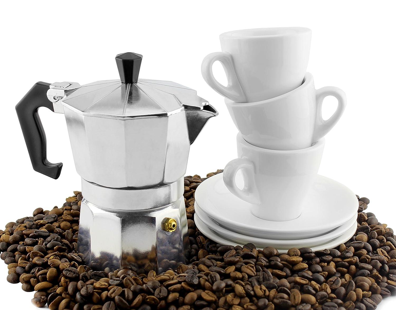 Moka Pot Set w/ Three Espresso Cups & Saucers (3-Serving Stovetop Espresso Maker) 4335464708