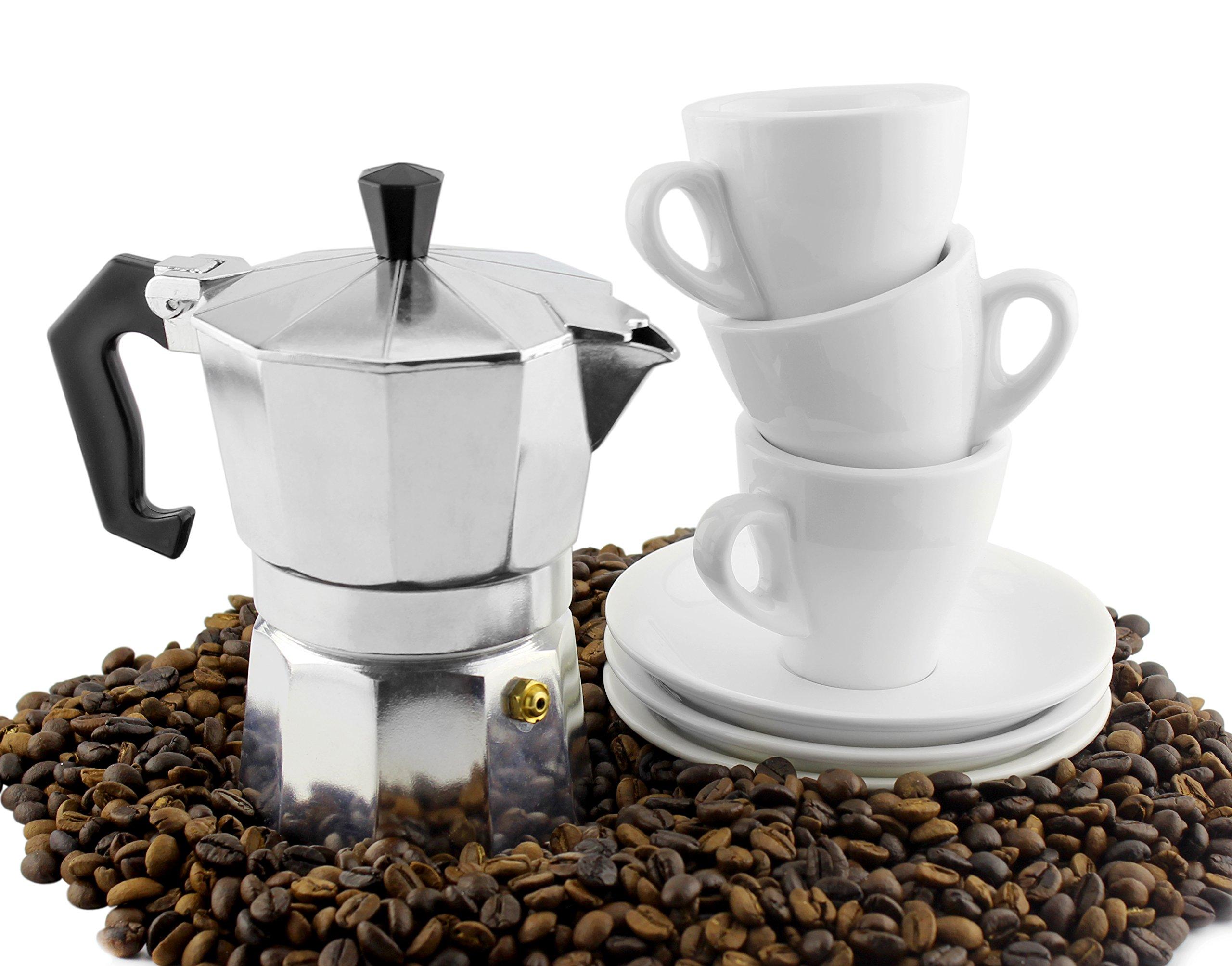 Moka Pot Set w/ Three Espresso Cups & Saucers (3-Serving Stovetop Espresso Maker)