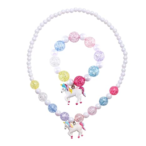 1be5105b0422 Skywisewin Juego de Collar y Brazalete Chunky Jewelry Unicorn para Niñas  Pequeños (Collar de Perlas