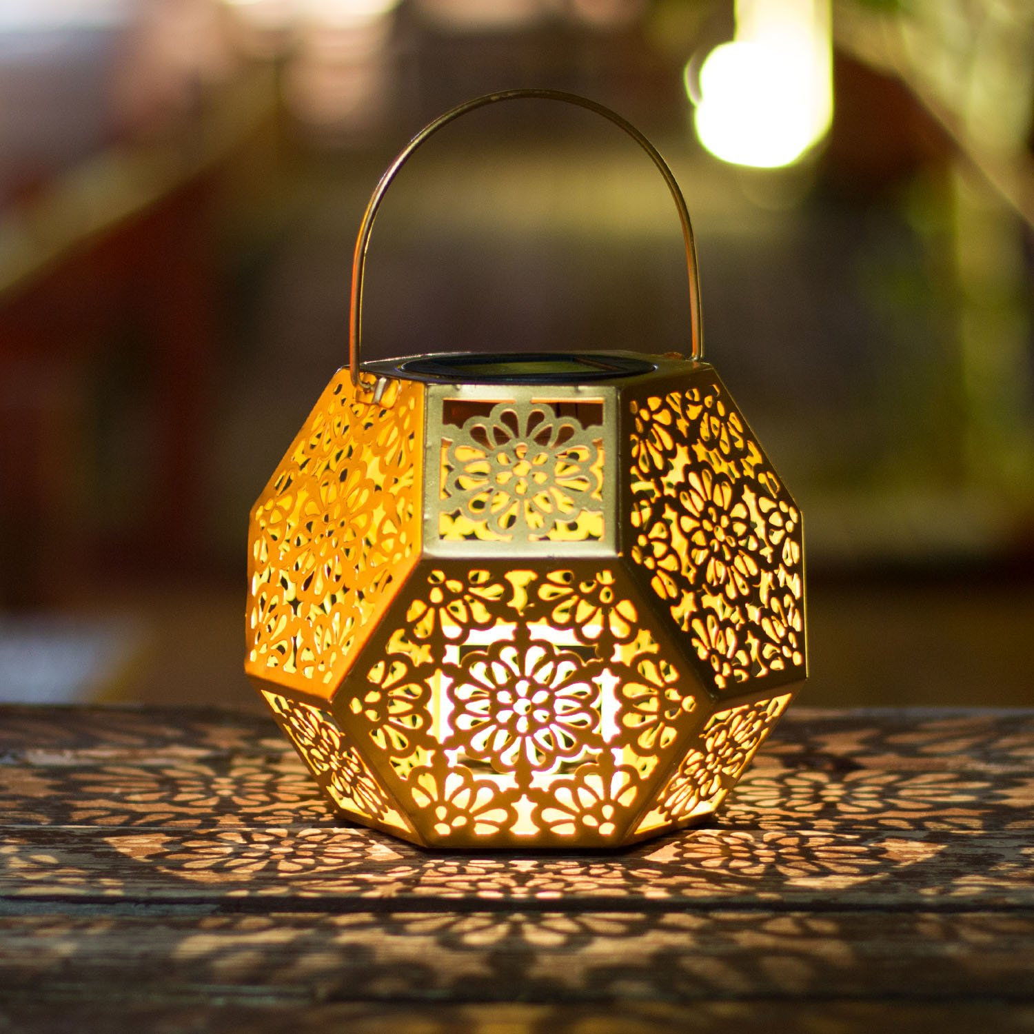 Solar Lantern Hanging Garden Gold Outdoor Lights Polygon Flower Metal Waterproof LED Table Lamp Decorative