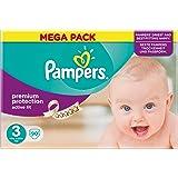 Pampers Premium Protection Active Fit Pañales para Bebés, Talla 3 (5-9 kg) - 90 pañales