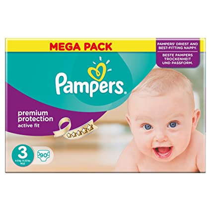 Pampers Premium Protection Active Fit Pañales para Bebés, Talla 3 (5-9 kg