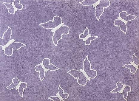 Tappeto Cameretta Lilla : Aratextil farfalla tappeto per bambini cotone lilla