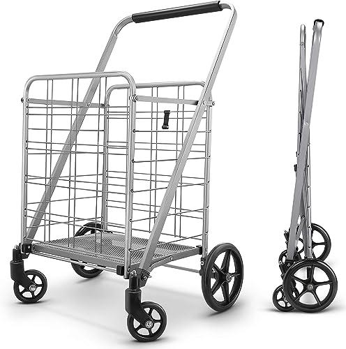 Winkeep Grocery Utility Flat Folding Shopping Cart