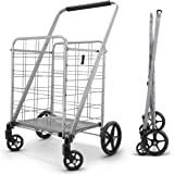 Newly Released Grocery Utility Flat Folding Shopping Cart with 360° Rolling Swivel Wheels Heavy Duty & Light Weight…