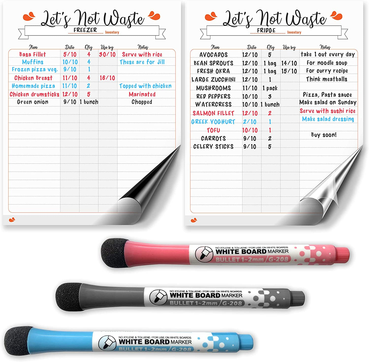 "Set of 1 Magnetic Dry Erase White Board and 1 Removable Dry Erase Sticker for Freezer, Fridge and Pantry Inventory Tracking (9.75""x 12.50""). Includes 3 Color Magnetic Dry Erase Pens"