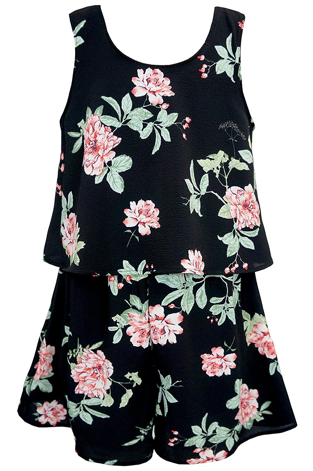 Truly Me, Big Girls Tween Sweet Floral Romper (Many Options), 7-16 (10, Black Floral)