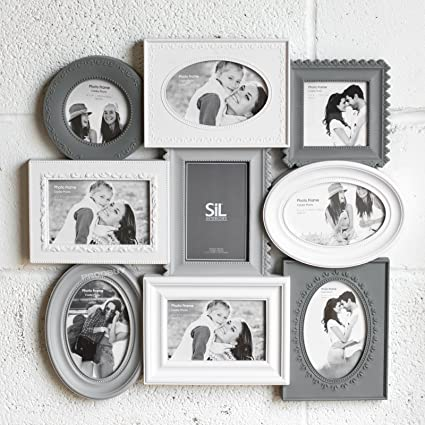 1a980951e3 Prodbuy Large Grey & White 9 Aperture Multi Picture Photo Frame Shabby Chic  Wall Collage: Amazon.co.uk: Kitchen & Home