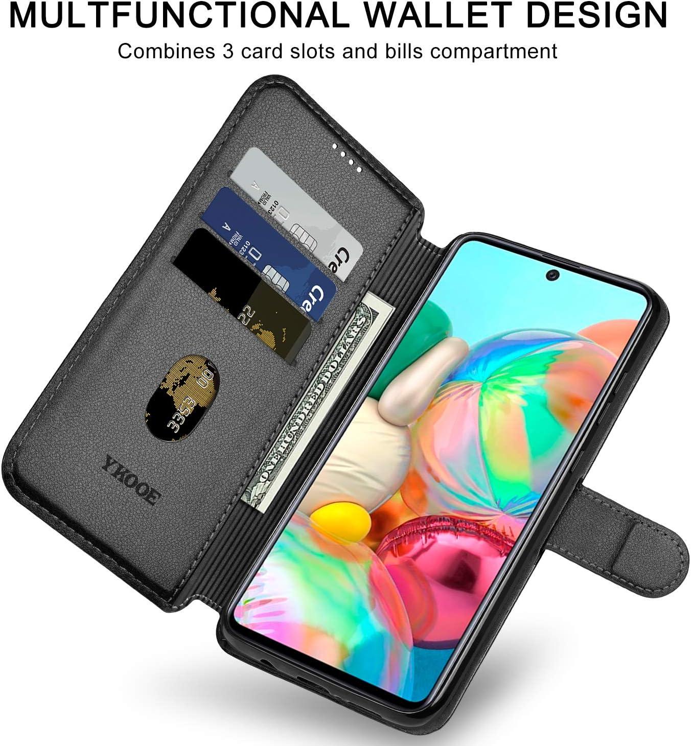 Hochwertige PU Leder Handy Schutz H/ülle f/ür Samsung Galaxy A71 Flip Tasche Schwarz ykooe Handyh/ülle Kompatibel mit Samsung Galaxy A71 H/ülle