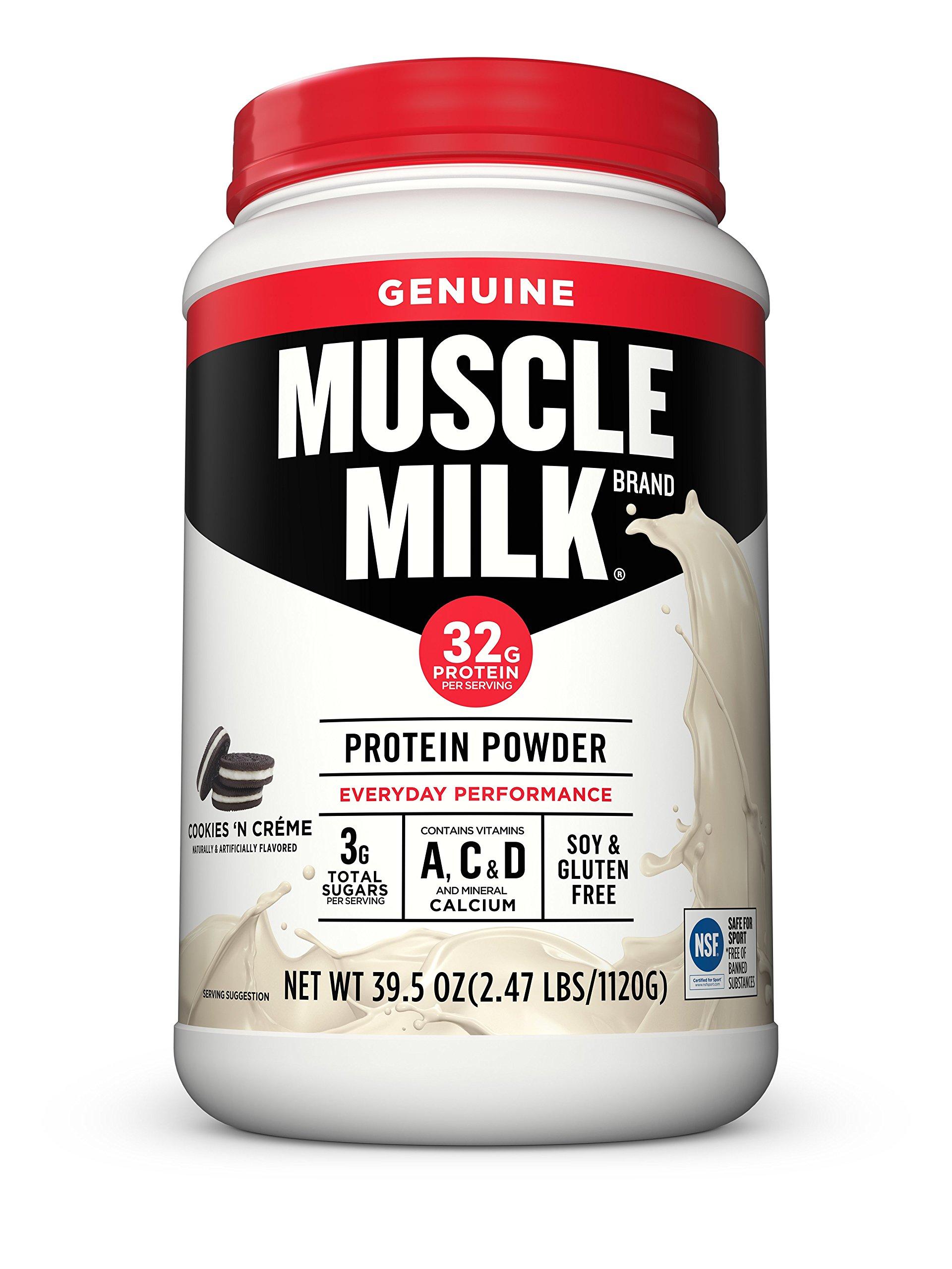 Muscle Milk Genuine Protein Powder, Cookies 'N Crème, 32g Protein, 2.47 Pound by CytoSport