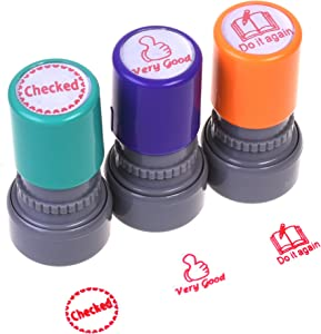 COSMOS Pack of 3 Teachers Self-inking Rubber Stamps Teacher Review Stamps, Handle in Random Color