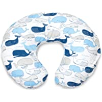 Boppy Original Nursing Pillow and Positioner, Big Whales Blue and Gray, Cotton Blend Fabric with allover fashion