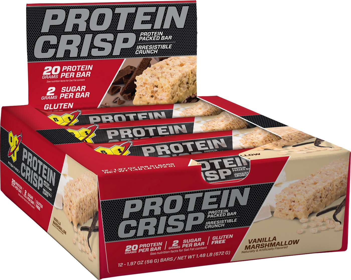 BSN Protein Crisp Bar by Syntha-6, Low Sugar Meal Replacement Whey Protein Bar, 20g of Protein, Vanilla Marshmallow, 12 Count (Packaging may vary)