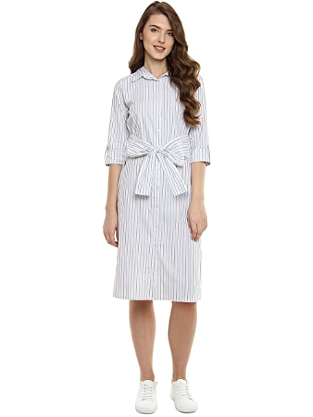 cbe69802f50f Miss Chase Women s White and Black Striped Shirt Dress  Amazon.in ...