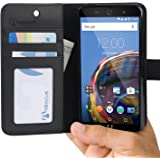 Wileyfox Swift 2 / Swift 2 Plus Case by Abacus24-7, Wallet with Leather Flip Cover and Stand, Black
