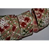 "Ribbon Queen Finest Quality Christmas Ribbon Range 1.5"" (38mm) 3m or 5m Wired Wire Edged Glitter, Red Green Silver Gold Purple Blue Burgundy Sparkly Vintage Traditional Tartan Burlap etc Sold as 3m or 5m lengths (3m, Snowflake tartan burlap)"
