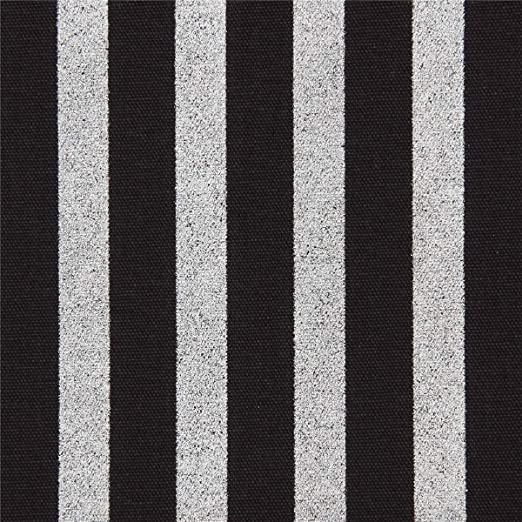 Tela oxford de algodón negra con listas plateadas metalizadas ...