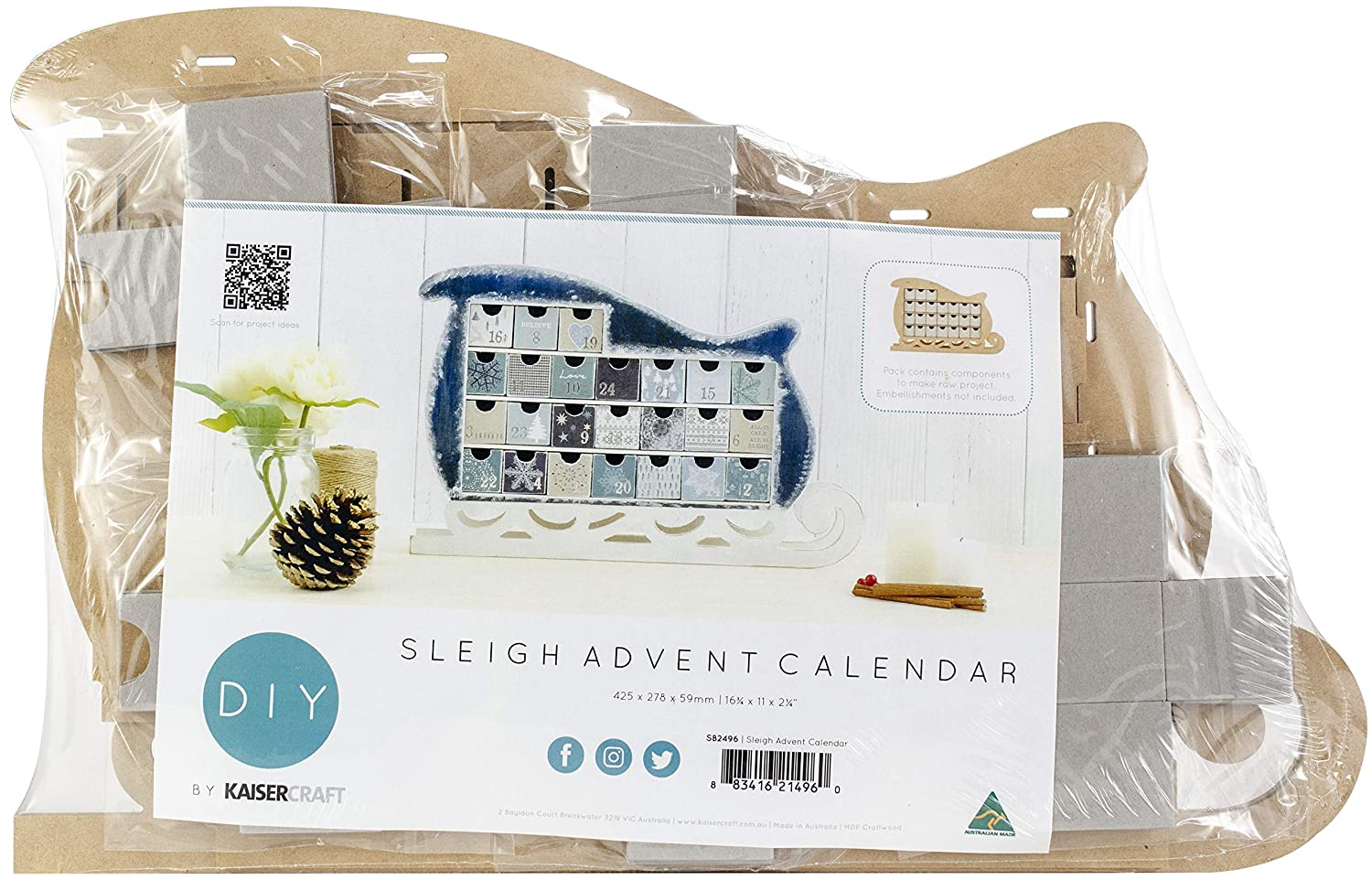 SB2496 Beyond The Page MDF Sleigh Advent Calendar-16.75X11X2.25 Kaisercraft 99195