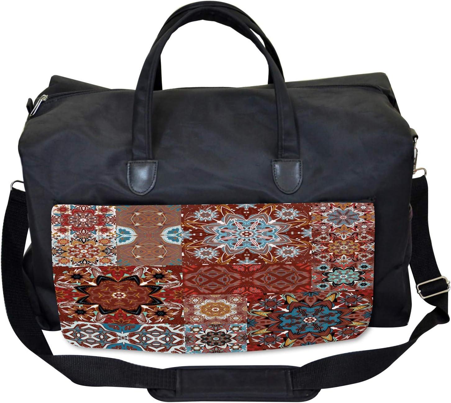 Large Weekender Carry-on Ambesonne Brown Gym Bag Victorian Mandala