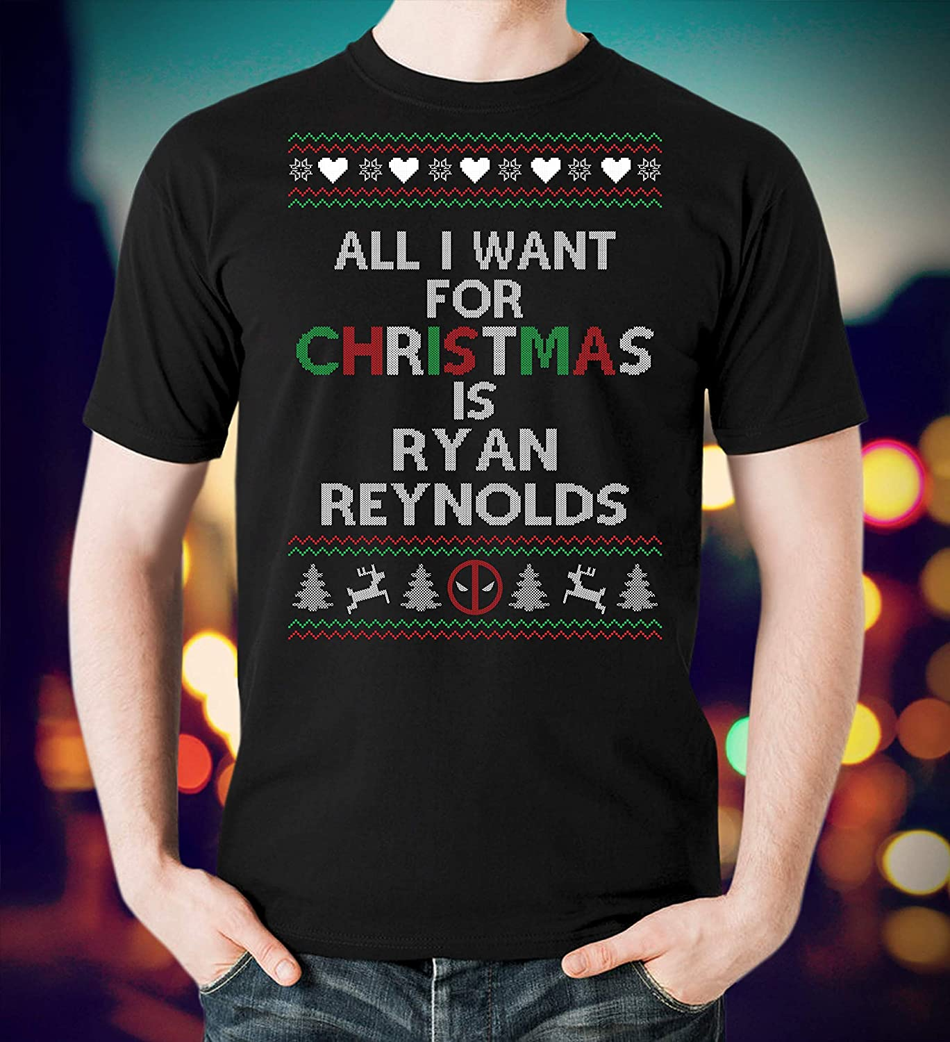 : Deadpool Ugly Christmas Sweater I Want Ryan