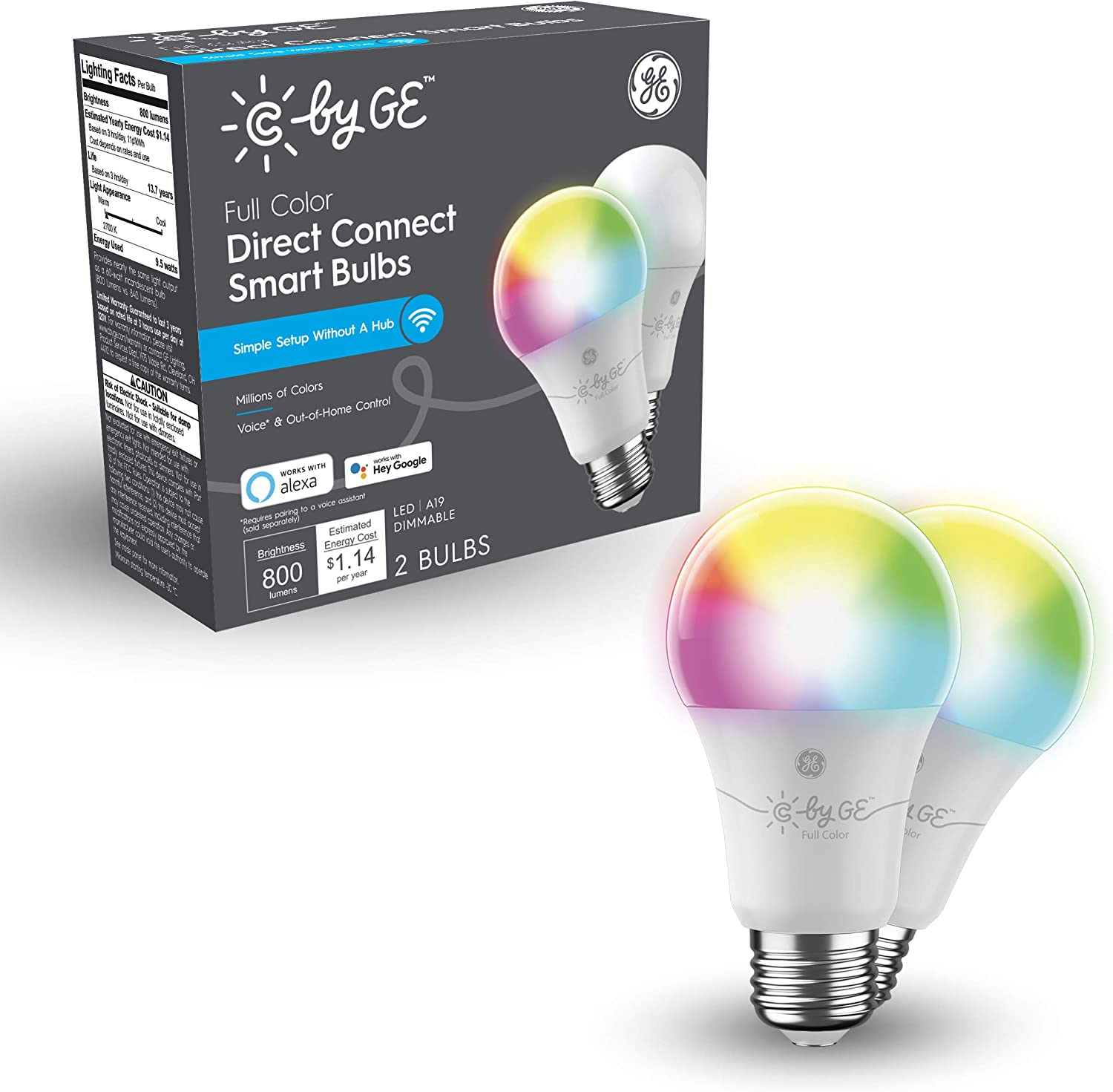 GE Lighting C by Full Color Direct Connect Smart LED Bulbs (2 A19 Color Changing Light Bulbs), 60W Replacement, 2-Pack, Smart Light Bulb Works with Alexa + Google Home Without Hub (93128982)